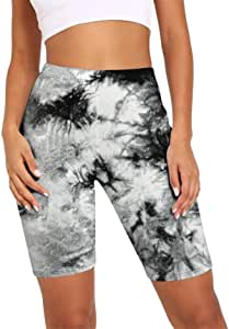 Women Ladies Sports Gym Cycling Fitness Shorts, Women's Tie Dye Sports Shorts Naked Feeling High Waist Tummy Control Skinny Yoga Shorts Butt Lift Workout Cycling Short Leggings Athletic Pants Workout