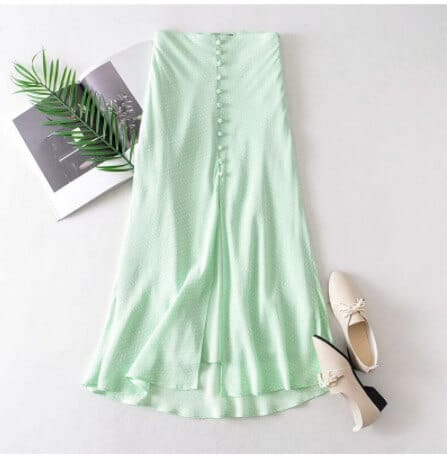 mint green skirt with a color top